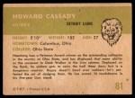 1961 Fleer #81  Howard Cassady  Back Thumbnail