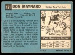 1964 Topps #121  Don Maynard  Back Thumbnail