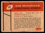 1960 Fleer #42  Bob Reifsnyder  Back Thumbnail