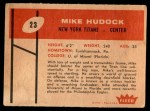 1960 Fleer #23  Mike Hudock  Back Thumbnail