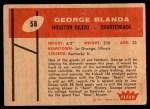 1960 Fleer #58  George Blanda  Back Thumbnail