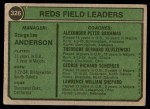 1974 Topps #326   -  Sparky Anderson / Alex Grammas / Ted Kluszewski / Scherger /  Larry Shepard Reds Leaders   Back Thumbnail