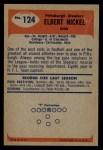 1955 Bowman #124  Elbert Nickel  Back Thumbnail