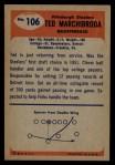 1955 Bowman #106  Ted Marchibroda  Back Thumbnail