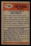 1955 Bowman #54  Lynn Chandnois  Back Thumbnail