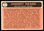 1966 Topps #296  Johnny Keane  Back Thumbnail