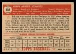 1952 Topps #136 CRM Johnny Schmitz  Back Thumbnail
