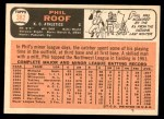 1966 Topps #382  Phil Roof  Back Thumbnail
