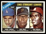1966 Topps #225   -  Bob Gibson / Sandy Koufax / Bob Veale NL Strikeout Leaders Front Thumbnail