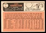 1966 Topps #55  Ken Harrelson  Back Thumbnail