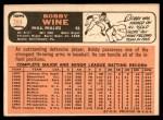 1966 Topps #284  Bobby Wine  Back Thumbnail