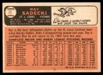 1966 Topps #26  Ray Sadecki  Back Thumbnail