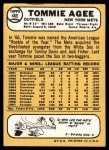 1968 Topps #465  Tommie Agee  Back Thumbnail