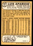 1968 Topps #310  Luis Aparicio  Back Thumbnail
