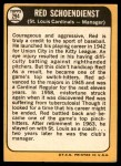 1968 Topps #294  Red Schoendienst  Back Thumbnail