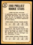 1968 Topps #348   -  Larry Colton / Dick Thoenen Phillies Rookies Back Thumbnail