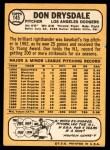 1968 Topps #145  Don Drysdale  Back Thumbnail