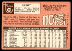 1969 Topps #405  Lee May  Back Thumbnail