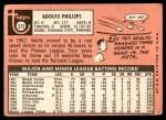 1969 Topps #372  Adolfo Phillips  Back Thumbnail