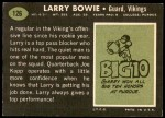 1969 Topps #126  Larry Bowie  Back Thumbnail