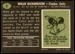 1969 Topps #5  Willie Richardson  Back Thumbnail