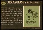 1969 Topps #128  Ben Davidson  Back Thumbnail