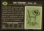 1969 Topps #29  Jim Turner  Back Thumbnail