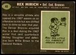 1969 Topps #49  Rex Mirich  Back Thumbnail