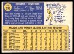 1970 Topps #298  Ken Henderson  Back Thumbnail