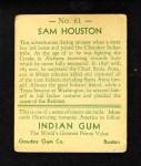 1933 Goudey Indian Gum #61  Sam Houston   Back Thumbnail