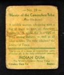 1933 Goudey Indian Gum #19   Camanchee Tribe  Back Thumbnail