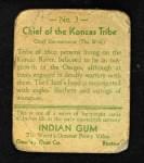 1933 Goudey Indian Gum #3   Konzas Tribe  Back Thumbnail