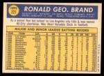 1970 Topps #221  Ron Brand  Back Thumbnail
