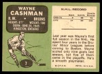 1970 Topps #7  Wayne Cashman  Back Thumbnail