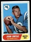 1968 Topps #100  Johnny Unitas  Front Thumbnail
