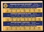 1970 Topps #683   -  Hal McRae / Wayne Simpson / Vern Geishert Reds Rookies Back Thumbnail