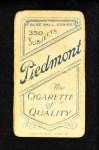 1909 T206  Fred Parent  Back Thumbnail