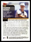 2000 Topps #39  Warren Morris  Back Thumbnail