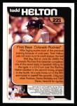 2000 Topps #221   -  Todd Helton  Highlights Back Thumbnail