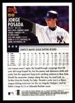 2000 Topps #56  Jorge Posada  Back Thumbnail