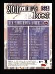 2000 Topps #234   -  Rickey Henderson 20th Century's Best Back Thumbnail
