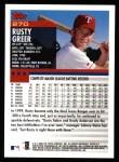 2000 Topps #270  Rusty Greer  Back Thumbnail