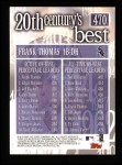 2000 Topps #470   -  Frank Thomas 20th Century's Best Back Thumbnail