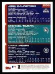 2000 Topps #206   -  Josh Kalinowski / Michael Tejera / Chris Mears Draft Picks Back Thumbnail