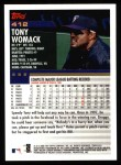 2000 Topps #412  Tony Womack  Back Thumbnail