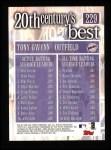2000 Topps #229   -  Tony Gwynn 20th Century's Best Back Thumbnail