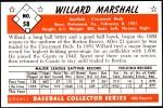 1953 Bowman REPRINT #58  Willard Marshall  Back Thumbnail