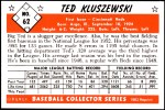 1953 Bowman REPRINT #62  Ted Kluszewski  Back Thumbnail