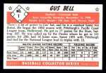 1953 Bowman B&W Reprint #1  Gus Bell  Back Thumbnail