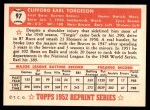 1952 Topps REPRINT #97  Earl Torgeson  Back Thumbnail